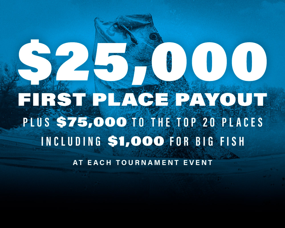 $25,000 first place payout plus $75,000 top the top 20 places including $1,000 for big fish at each tournament event.